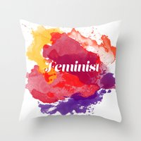 feminism Throw Pillows featuring Feminism Watercolor by Pia Spieler