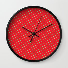 Retro Christmas Green Polka Dots Red Background Wall Clock