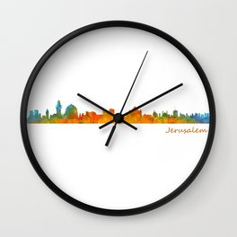 Jerusalem City Skyline Hq v1 Wall Clock