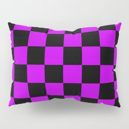 Black and Purple Checkerboard Pattern Pillow Sham