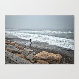 Surfer, High Tide. Torrey Pines State Beach, California. Canvas Print