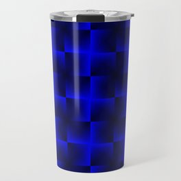 Rotated rhombuses of blue crosses with shiny intersections. Travel Mug
