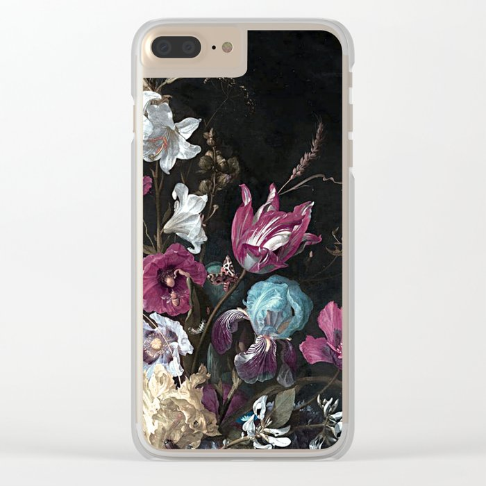 Vintage Flowers and Bugs Clear iPhone Case