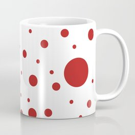 Mixed Polka Dots - Firebrick Red on White Coffee Mug
