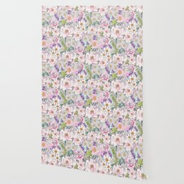 Watercolor garden peonies floral hand paint Wallpaper