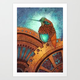 Clockwork Hummingbird Art Print