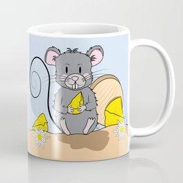 Cartoon Mouse with Cheese Coffee Mug