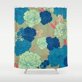 Green Blue Anemone Shower Curtain