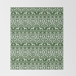 Great Dane fair isle christmas holiday green and white minimal pattern gifts for dog lover Throw Blanket