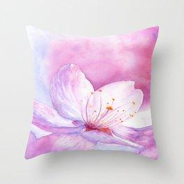 Cherry Blossom - Scent of Spring - Sakura, Hanami - Art Watercolor Painting by Suisai Genki Throw Pillow