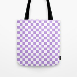 Small Checkered - White and Light Violet Tote Bag