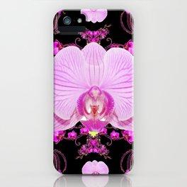 Purple Orchids Pattern Fantasy Yellow Black Art Pattern iPhone Case