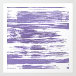Modern abstract lilac lavender white watercolor brushstrokes Art Print