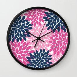 Flower Burst Petals Navy Pink Wall Clock
