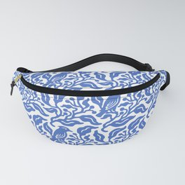 Bird and Berries Pattern Blue Fanny Pack