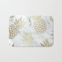 Tropical Pineapple, Marble and Gold Abstract Pattern Bath Mat