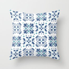 Blue Azulejos Flower Tiles Pattern Throw Pillow