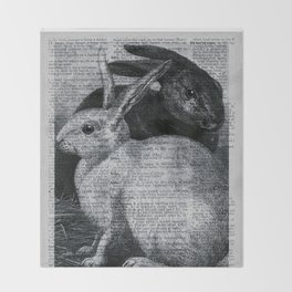 Dictionary Bunnies by Kathy Morton Stanion Throw Blanket