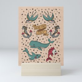 Seas the Day Tattoo - Teal Mini Art Print