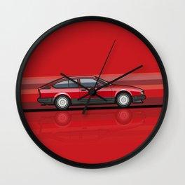 Alfa Romeo GTV6 Red Stripes Wall Clock