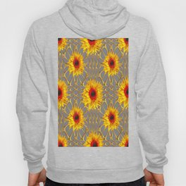 Dove Grey Design Yellow-Red Sunflowers Gold Lace Art Hoody