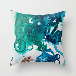 Turtle Exploring the Great Deep Blue Sea Throw Pillow