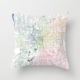 Indianapolis City Watercolor Map Art by Zouzounio Art Throw Pillow