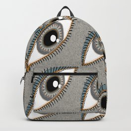 eyes eye neutral colors taupe beige gray brown coral black white Backpack