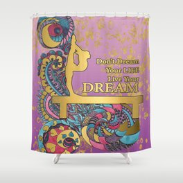 Gymnastics- Live your Dream- In Purple Gradient and Gold Watercolor Doodle Design Shower Curtain