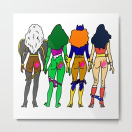 Superhero Butts Love 2 - Team Girls Metal Print