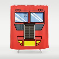 optimus prime Shower Curtains featuring Transformers - Optimus Prime by CaptainLaserBeam