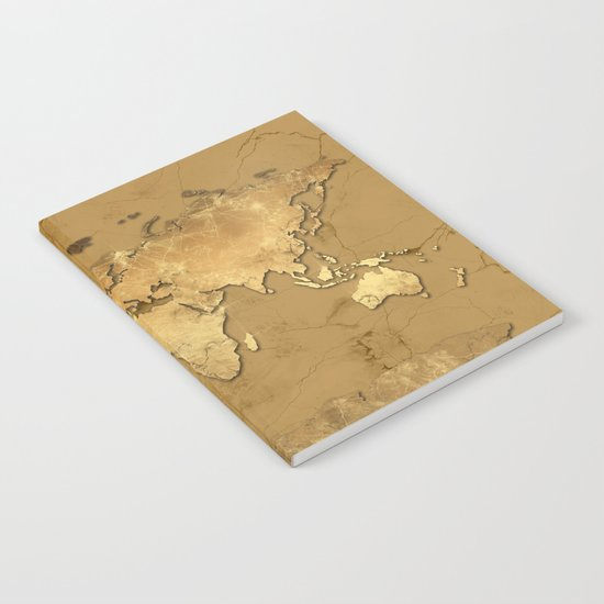 world map marble gold 3 Notebook