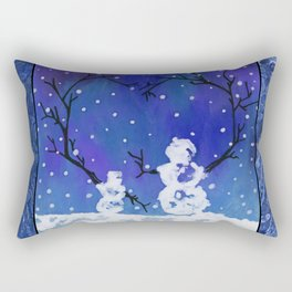 The Heart of Snowmen on a Winter Snowfall Day by annmariescreations Rectangular Pillow