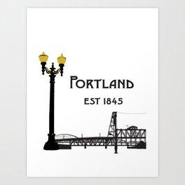 Historic Portland, Oregon by Seasons K Designs Art Print