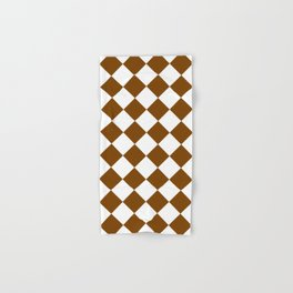Large Diamonds - White and Chocolate Brown Hand & Bath Towel