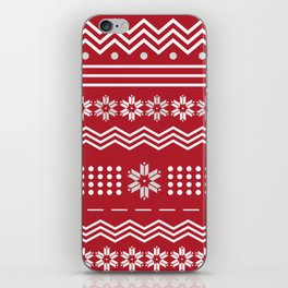 Ugly Christmas Authentic Knitted Cardigan - Snowflakes Red #society6 #decor #buyart #artprint iPhone Skin