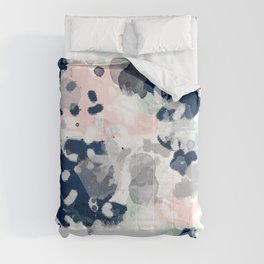 Melia - abstract minimal painting acrylic watercolor nursery mint navy pink Comforters