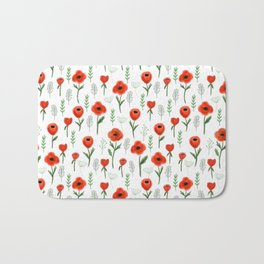 Poppy flower painted floral pattern minimal nursery happy decor gifts Bath Mat