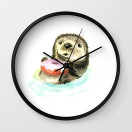 The otter who has a donut Wall Clock