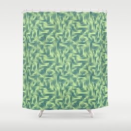 Kip and Flo in Blue on Lime Shower Curtain