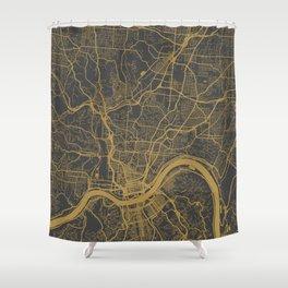 Cincinnati map ocher Shower Curtain
