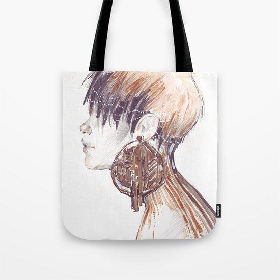 Fashion illustration profile portrait gold black white markers and watercolors Tote Bag