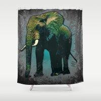 hippie Shower Curtains featuring Hippie Elephant by ZeebraPrint