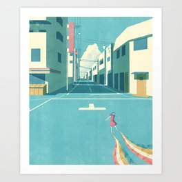 GIRL AT THE TOWN Art Print