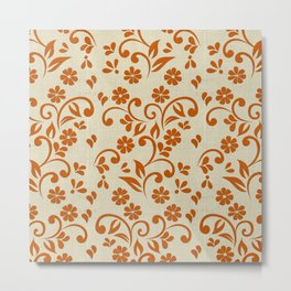 """Orange Flowers & Natural Texture"" Metal Print"