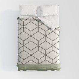 Sage Green Geometric Honeycomb Lattice Cuff Pattern Comforters