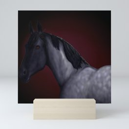 Blue Roan Dappled with red background Mini Art Print