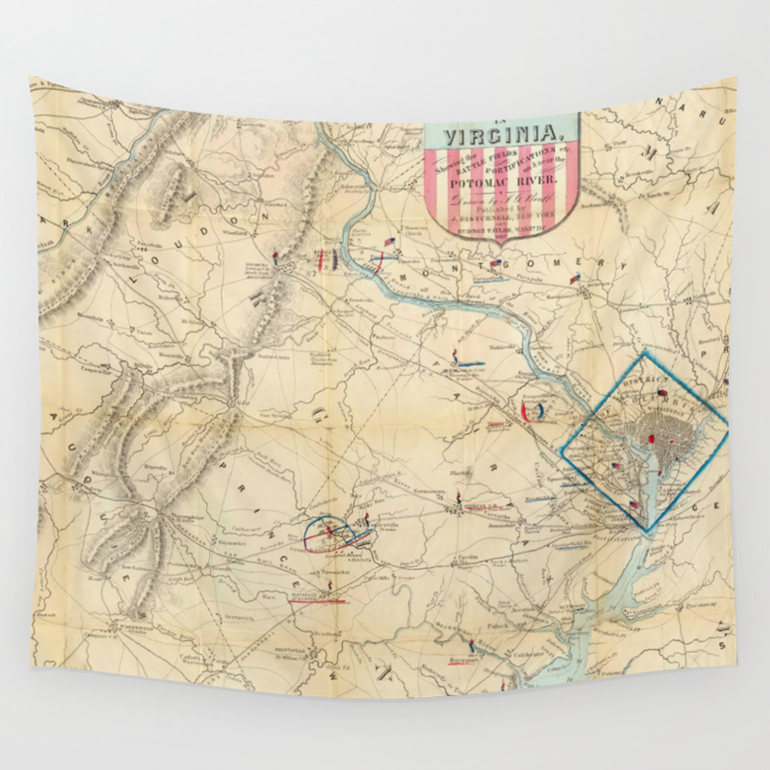 Vintage Northern Virginia Civil War Map (1862) Wall Tapestry on georgia virginia map, colonial virginia map, fredericksburg va map, central virginia state map, county of va counties map, virginia meissner trail map, columbia gas of virginia map, slavery in 1860 virginia map, united states virginia map, battle of chancellorsville virginia map, american flag virginia map, manakin town virginia map, battle of richmond virginia map, california virginia map, 5 regions virginia map, petersburg virginia state map, hwy 58 virginia map, powell river virginia map, aquia creek virginia map, new york virginia map,