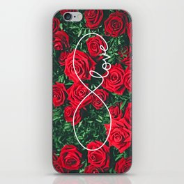 Red Roses Photography & Infinity Love Sign iPhone Skin