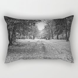 Walking Down A Wooded Road Rectangular Pillow
